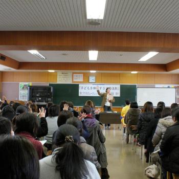 三条市立第三中学校にて講師石垣順子講演の様子